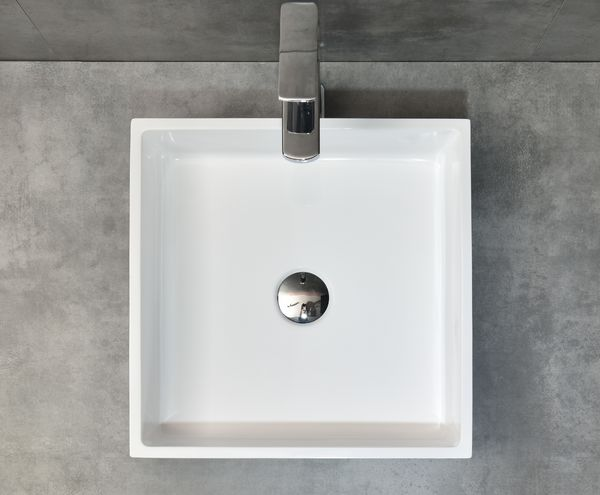 Beautiful Morning artificial stone square matt washbasin with pop-up drain