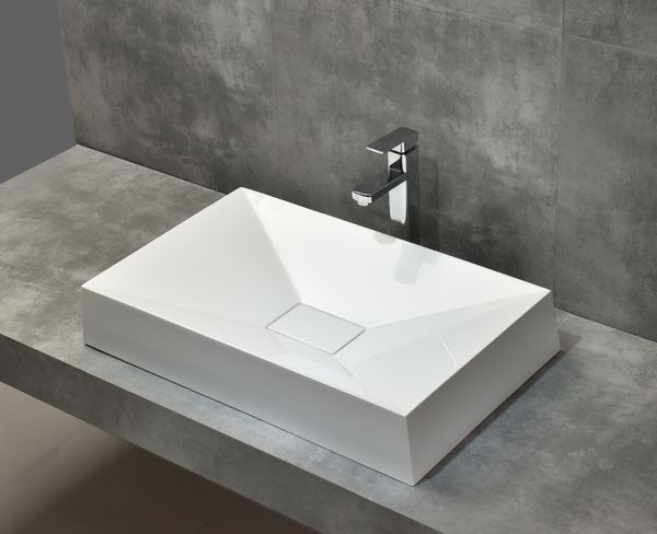 Beautiful Morning artificial stone 69x43 cm matt white washbasin