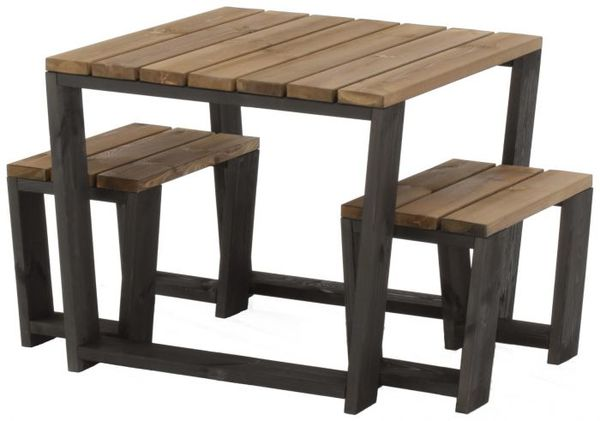 Ecofurn Jussi set incl. 87 cm table and 2 pcs 60 cm benchs